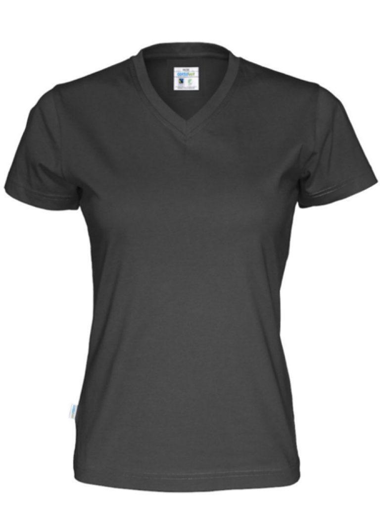 T-shirt V-neck Tjej CottoVer svart