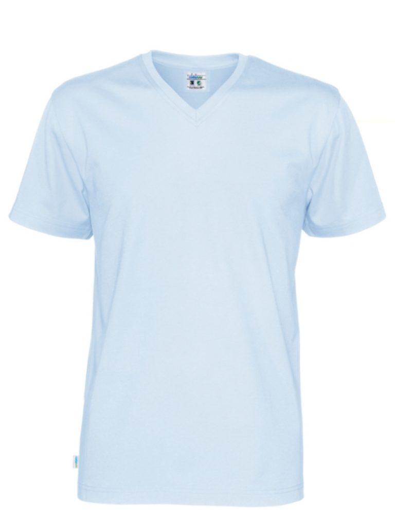 T-shirt V-neck CottoVer himmelsblå