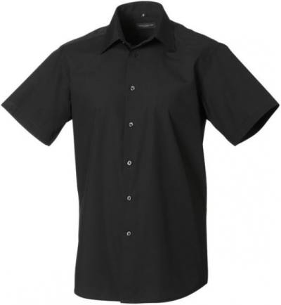 DoneMen´s SS Easy Care Tailored Poplin Shirt kortärmad Black