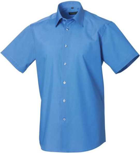 DoneMen´s SS Easy Care Tailored Poplin Shirt kortärmad Corporate Blue