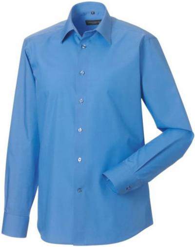 Men´s SS Easy Care Tailored Poplin Shirt långärmad Corporate Blue