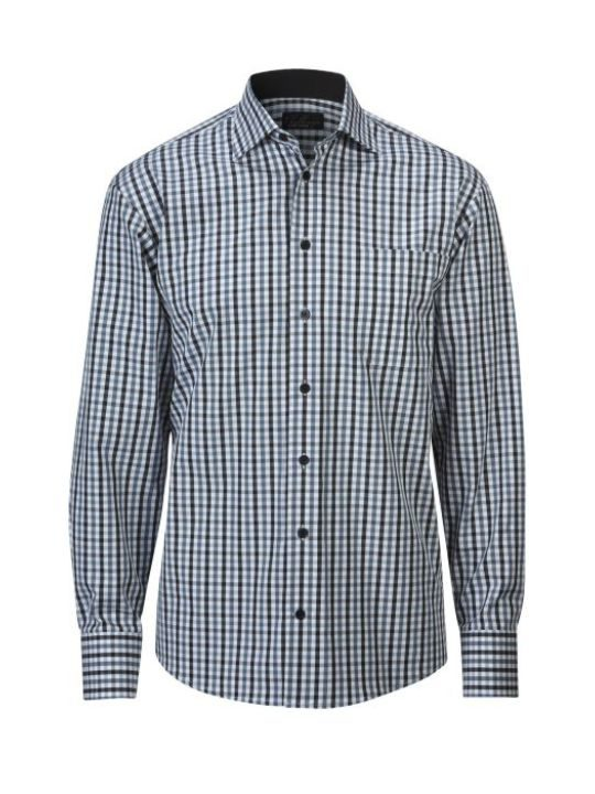 Ernst Alexis Skjorta Pure Cotton Normal Herr 100% bomull svartsvart