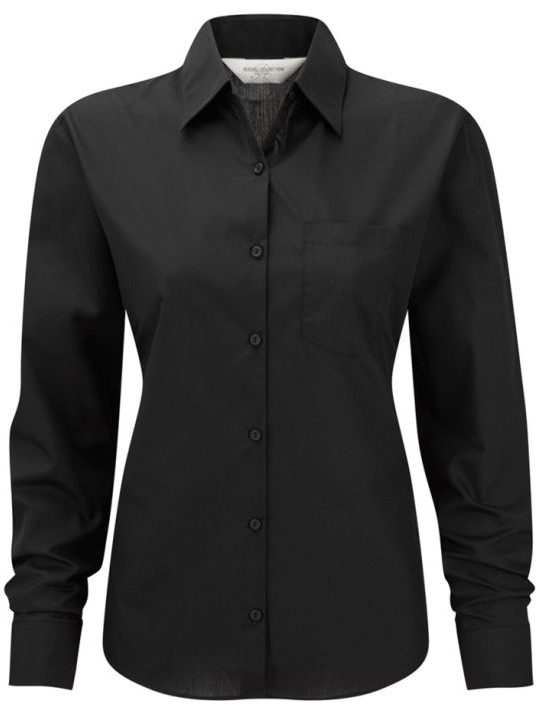Ladies LS Easy Cary Poplin Black