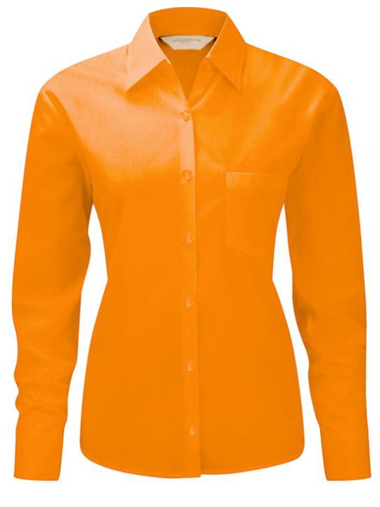 adies LS Easy Cary Poplin Orange