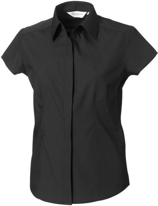Ladies Short Sleeve Poplin Fitted Shirt Black