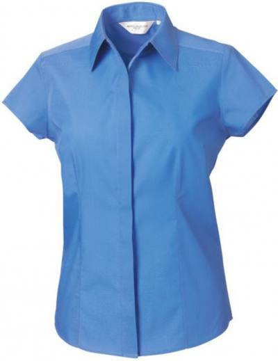 Ladies Short Sleeve Poplin Fitted Shirt Corporate Blue