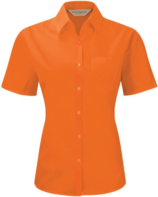Ladies Short sleeve poplin Orange