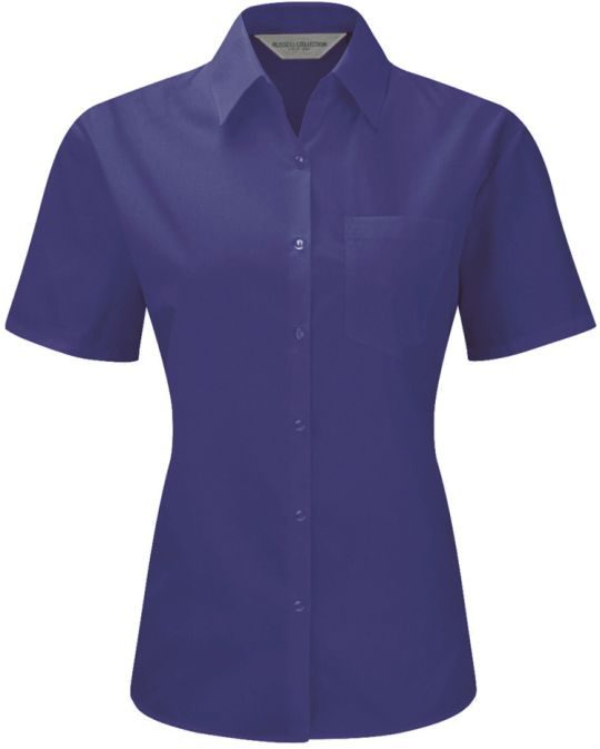 Ladies Short sleeve poplin Purple