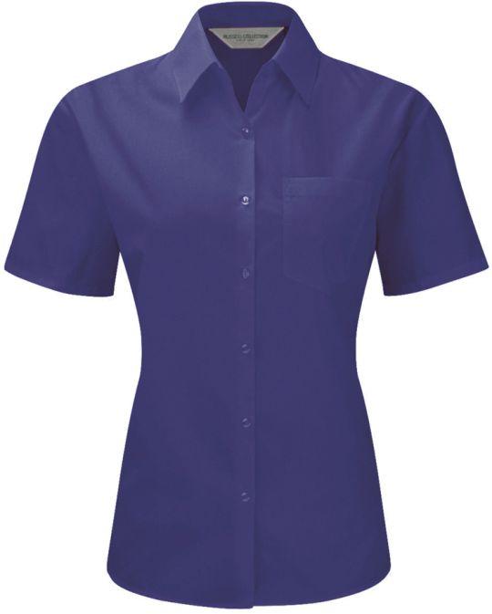 Ladies Short sleeve poplin Purple