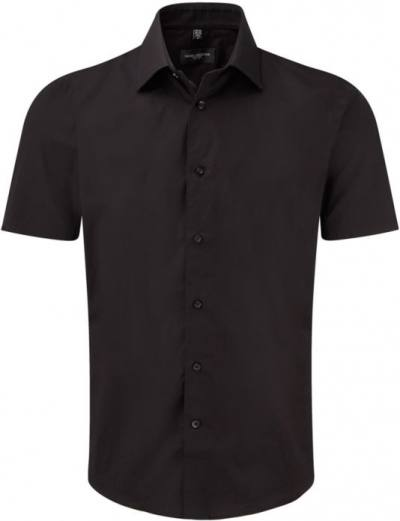 Men Sh Sl Easy Care Fitted Black
