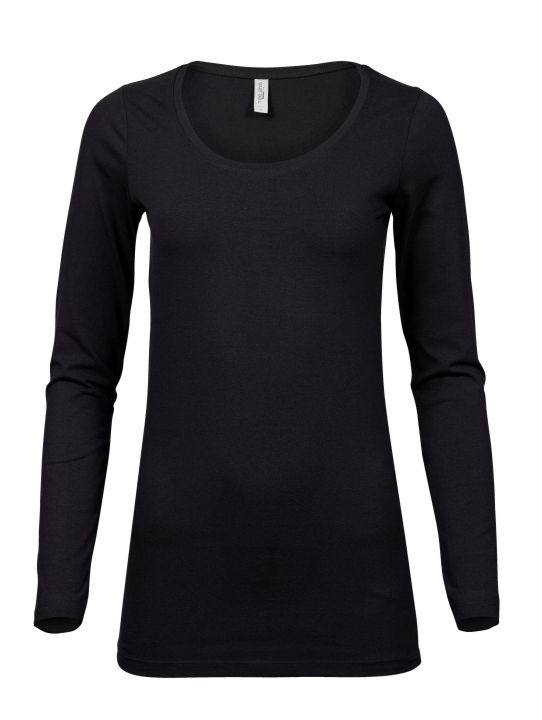 Ladies Fashion Stretch Long Sleeve Tee Extra Length T S